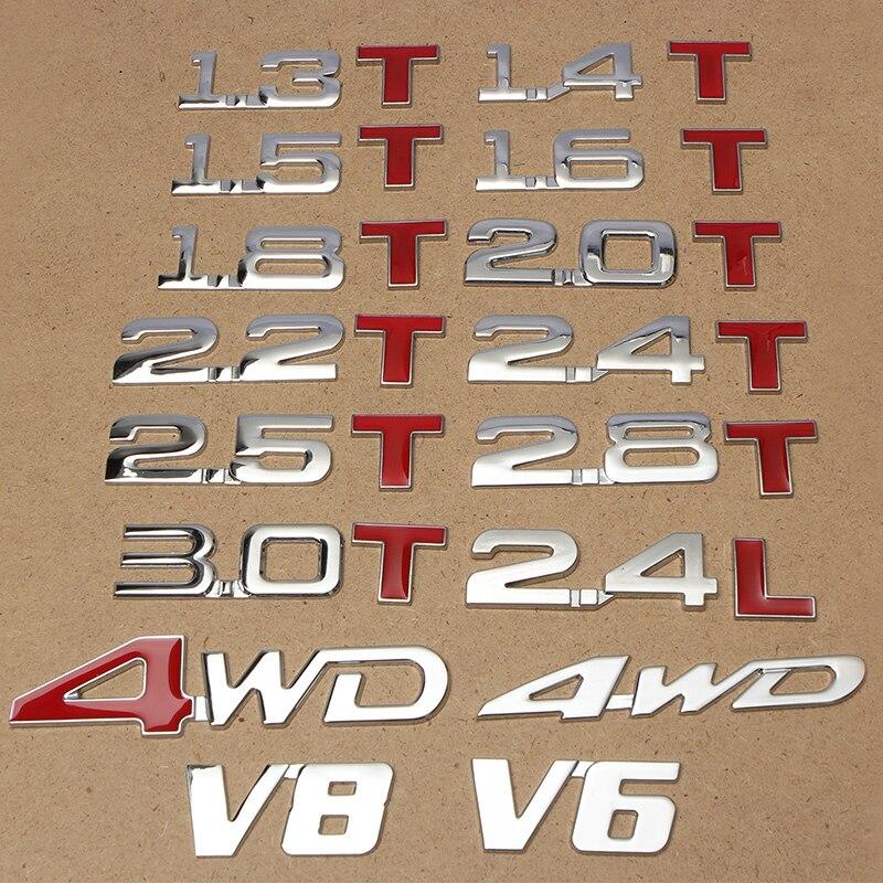 Автомобильная 3D металлическая 1,3 1,4 T 1,5 T 1,6 T 1,8 T 2,0 T 2,2 T 2,4 T 2,5 T 2,8 T 3,0 T 2.4L логотип-Наклейка Эмблема багажника значок наклейки автостайлинг