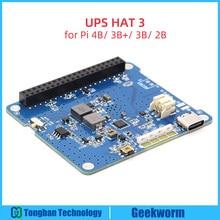 Raspberry pi 4 modelo b/3b +/3b ups hat 3 com tipo c, placa de expansão da fonte de alimentação da bateria li ion (sem bateria)