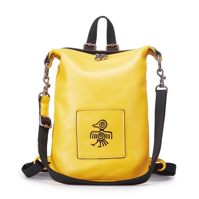 Orabird luxo couro de vaca casual mulheres mochila multifuncional grande capacidade macio senhora bagpack moda meninas cidade crossbody saco