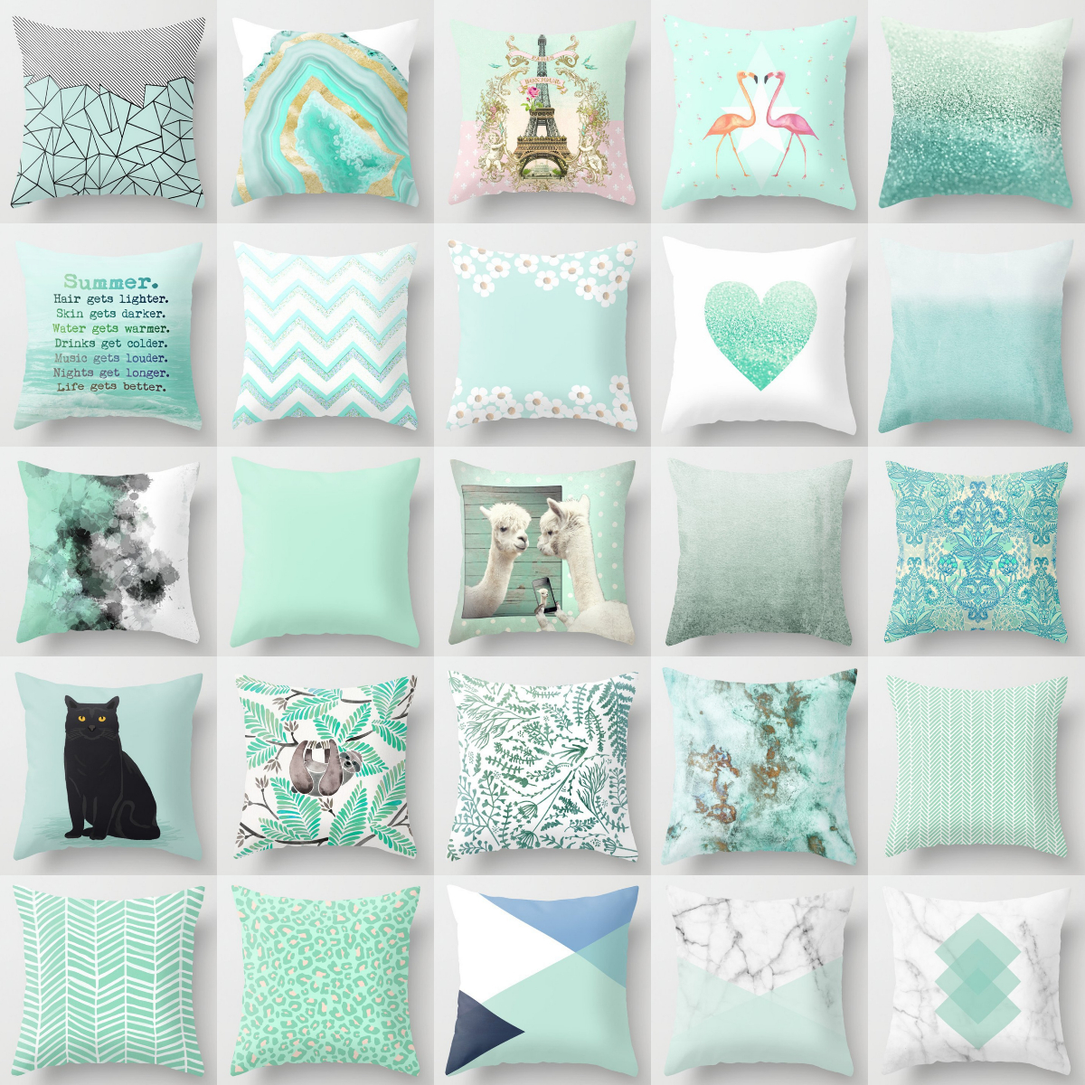 new mint green blue cushion covers