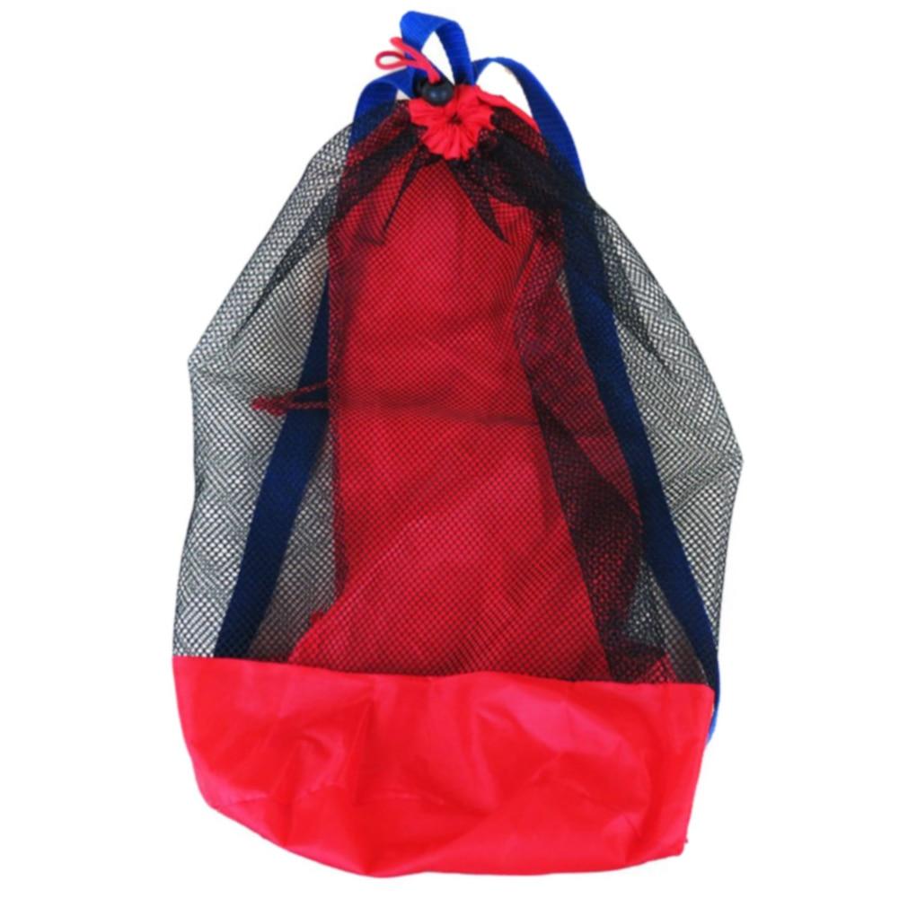 Drawstring Mesh Bag Large Capacity Kids Net Children Water Fun Organizer Outdoor Sand Toy Storage Sports Backpack Portable
