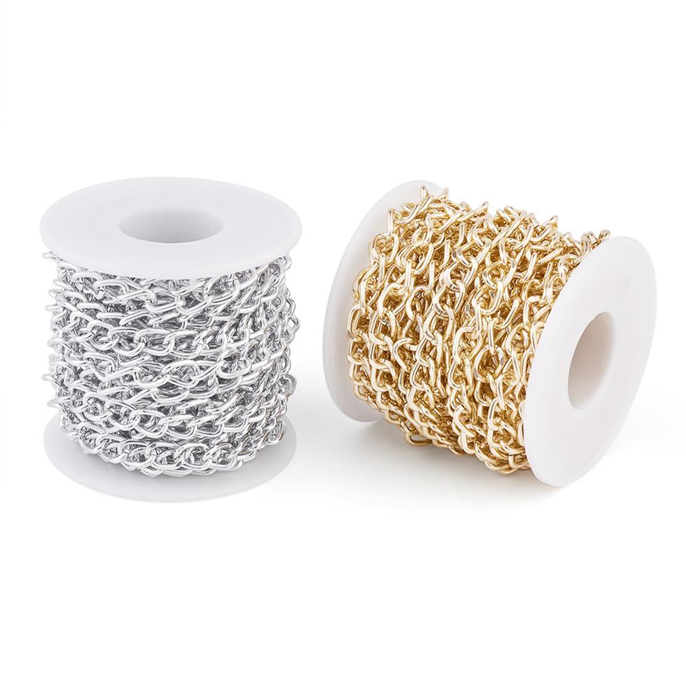 Cadenas trenzadas de aluminio sin soldar, con carretes, cadena para fabricación de joyería DIY, collar de pulsera 10x6x8mm, 2 rollos/juego