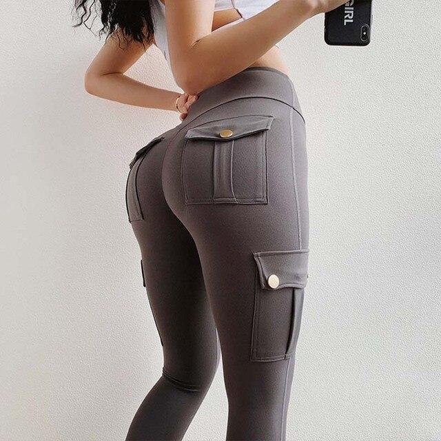 NORMOV Fitness polainas de las mujeres con bolsillo sólido alto cintura arriba poliéster polainas de carga pantalones casuales Hip Pop Pantalones 3