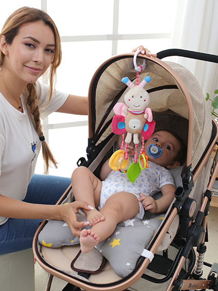 QWZ Hanging Rattles Stroller Baby Toys Gifts Plush Newborn 0-12-Months Cartoon Bed