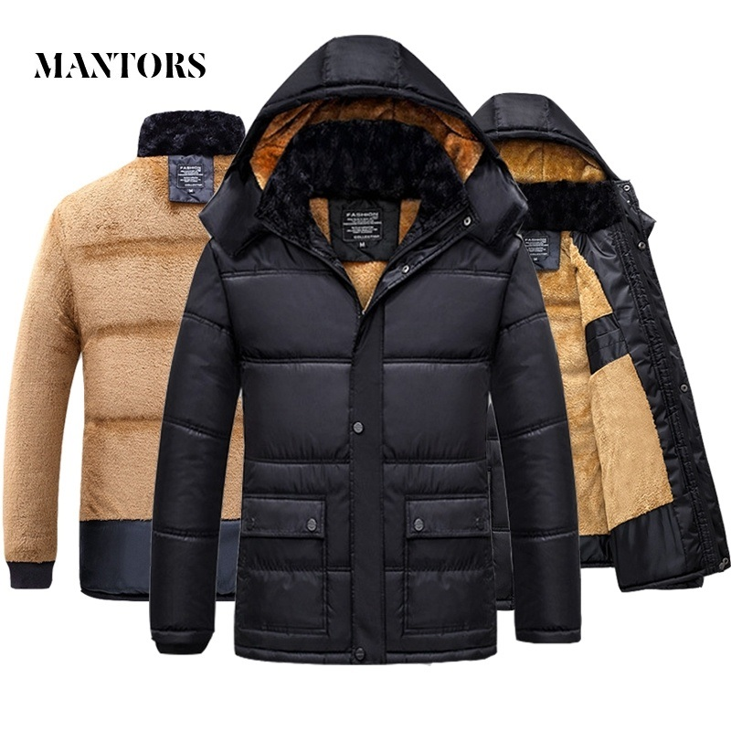 2019 Winter Men Jacket Coat Warm Fleece Casual Hooded Outwears Male Parka Coats Men's Plus Velvet Thicken Fur Zipper Overcoat