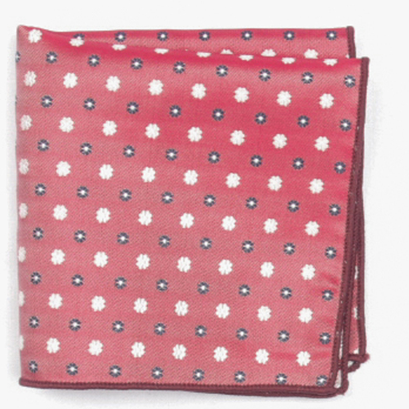 Red Dual Color Dotted Patterned Pocket Square With Patterns Handkerchief