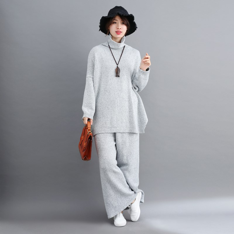 Plus Size Women 2 Pieces Pant Sets Casual 2019 New Turtleneck Knitted Sweaters Pullovers And Wide Leg Pant Suits