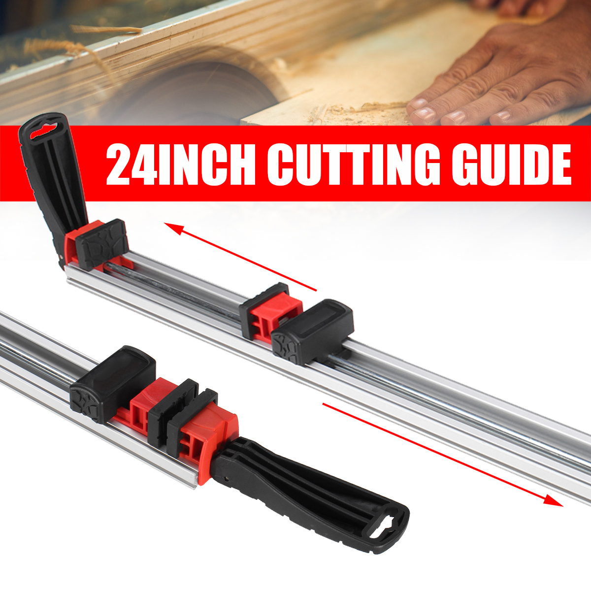 24 Inch Wood Gauge Clamp Woodworking Cutting Guide Aluminum Alloy Grip Straight Edge For Straight Wood Cutting Table Saw Guide