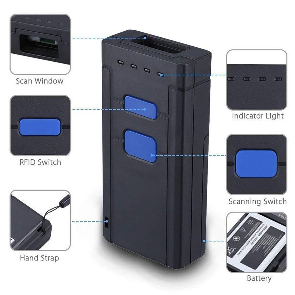 Lecteur de paiement de Scanner de code barres de poche sans fil Mini Bluetooth LED à piles ordinateur Portable Portable rapide