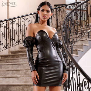 Image 5 - Adyce 2020 New Winter Sexy Black V Neck Off Shoulder Long Sleeve Party Dress Women PU Leather Club Evening Runway Mini Dresses