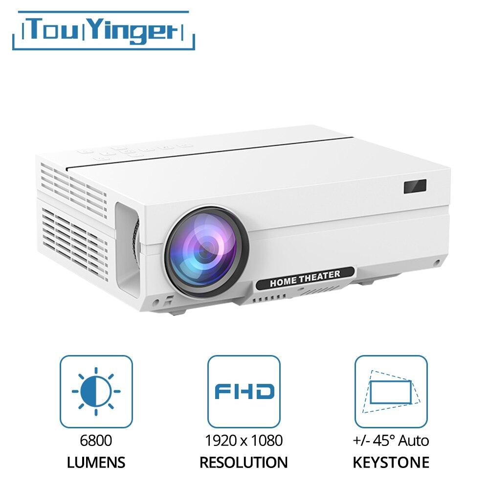 Touyinger t27k hd completo led projetor de vídeo 6800 lumens fhd ac3 hdmi beamer cinema em casa teatro (android 9.0 wifi opcional)
