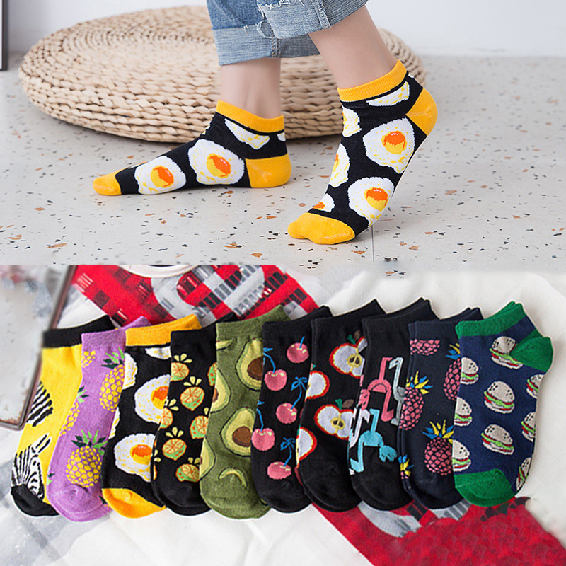 Women Socks Funny Cute Cartoon Fruits Food Short Happy Japanese Harajuku Skateboard Socks Boat Socks Ankle Socks Spring Summer