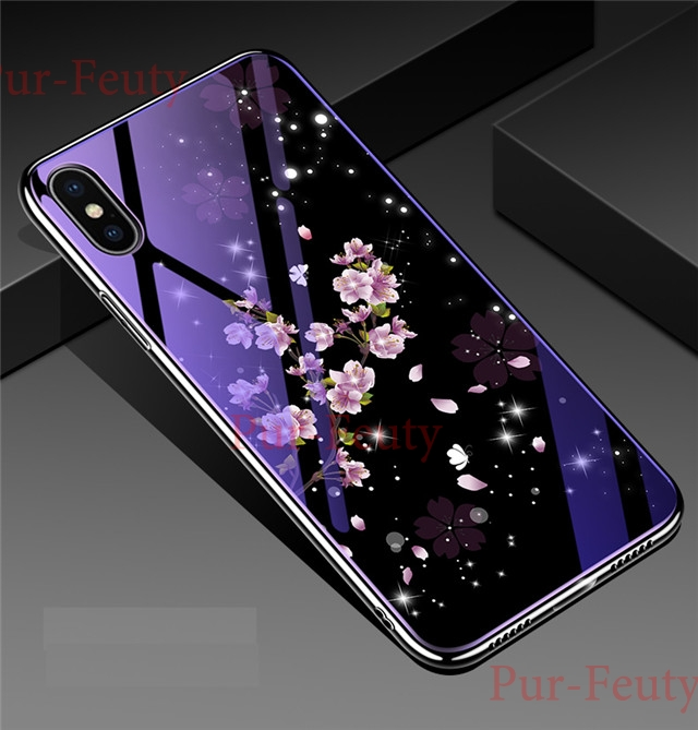 Case For Samsung Galaxy S8 S9 S10 Plus S10E A10 A30 A50 A70 M20 Note9 Luxury Shining Plating Painted Tempered Glass Back Covers