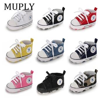 Baskets solides en coton | Chaussures de bébé, garçon et fille, étoile, semelle antidérapante souple, nouveau-né, premiers marcheurs bébés, chaussures de berceau en toile décontractées 1