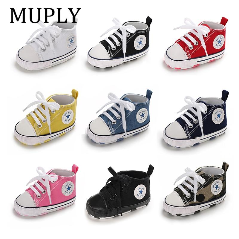 Bebek ayakkabı erkek kız yıldız katı ayakkabı pamuk yumuşak kaymaz taban yenidoğan bebek ilk yürüyüşe Toddler rahat tuval beşik ayakkabı