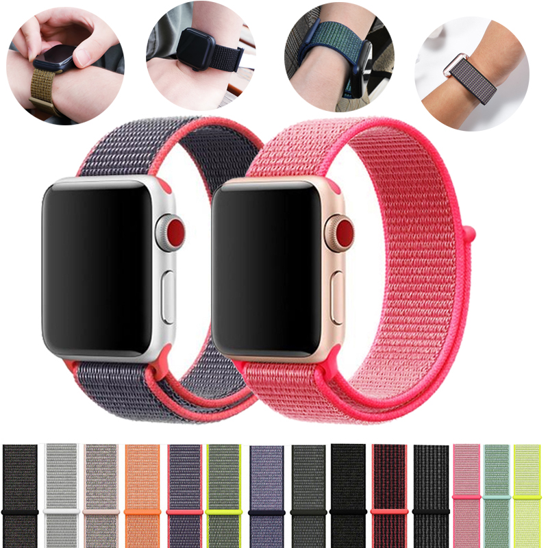 Nylon Strap For Apple Watch 5 4 Band 44mm 40mm IWatch Series 42mm 38mm Sport Loop Bracelet Apple Watch Straps 3 2 1 Accessories