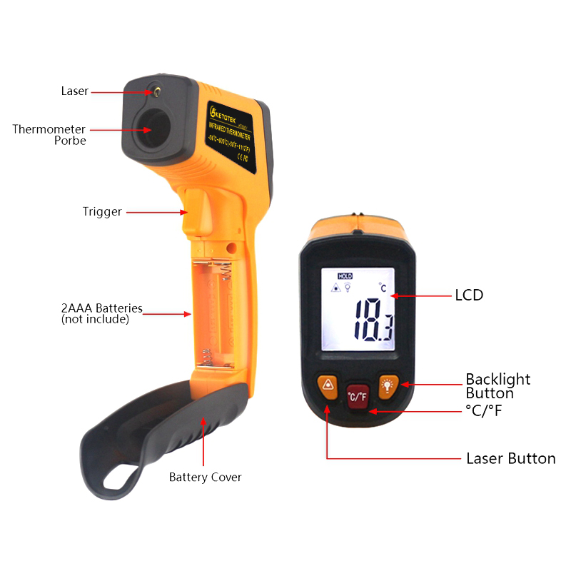 Image 5 - Handheld Non contact IR Infrared Thermometer Digital LCD Laser Pyrometer Surface Temperature Meter Imager C F Backlight  50~600C-in Temperature Instruments from Tools on