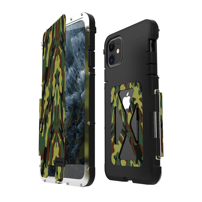 R-just Luxury Doom Metal Armor Case for iPhone 11 Pro Max X XS Max XR 7 8 Plus Life Dirt Shockproof Aluminum Armor King Iron Man Steel Flip Cover