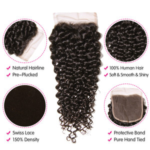 Image 2 - UNICE HAIR Brazilian Curly Lace Closure Free Part Remy Human Hair Closure Swiss Lace 150% Density Natural Color 1 Piece