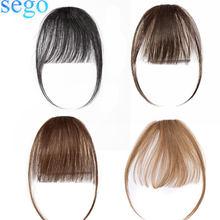 SEGO маленькая короткая 3D воздушная челка для волос с дужками, человеческие волосы Remy на заколках для наращивания, натуральный парик с челкой ...