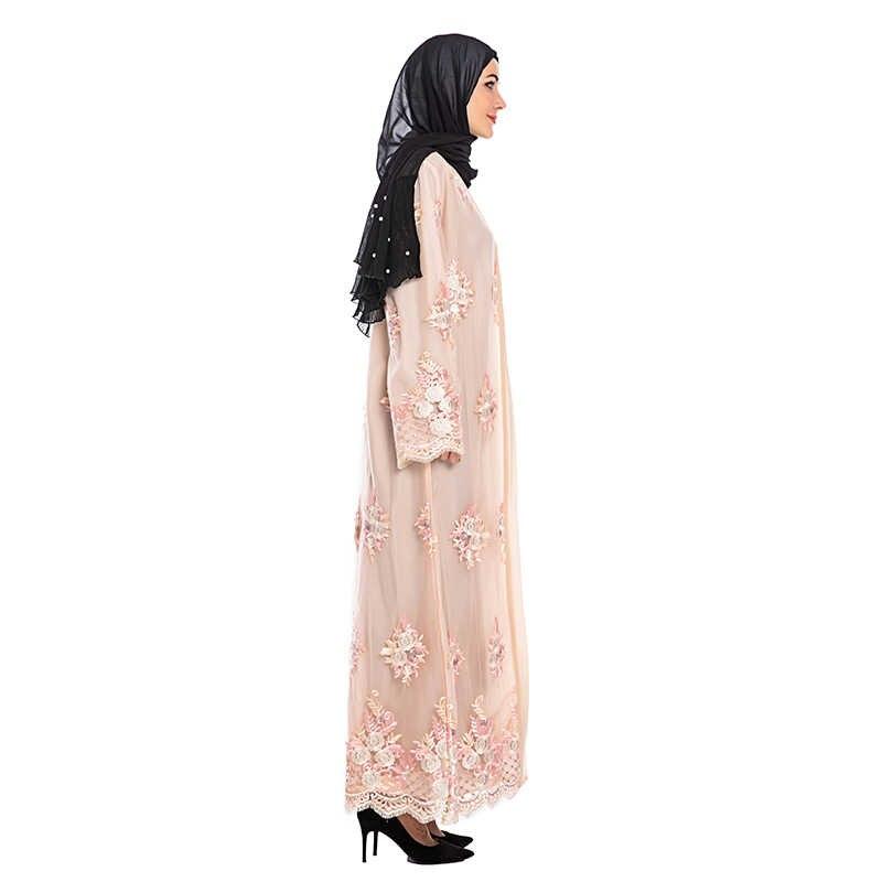 سترة الزهور العباءة كيمونو التركية الحجاب مسلم اللباس الإسلام الملابس العبايات للنساء القفطان Marocain رداء قفطان دبي Omani