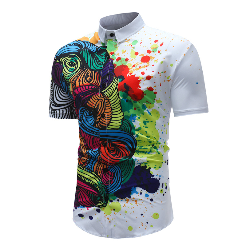 Summer Beach Shirts For Men Casual Slim Fit Short Sleeve Breathable Floral Printed Mens Shirts Turn-down Collar