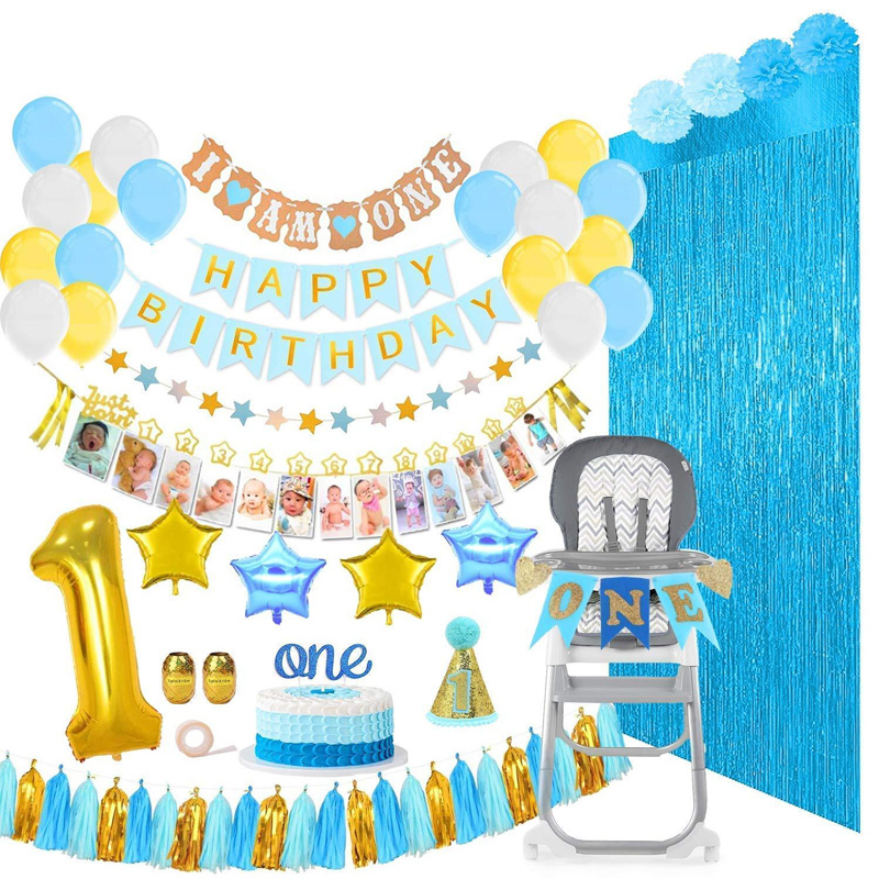 1st Birthday Party Decoration Balloons Girl Boy 1 Year Foil Latex Ball Set Birth Garland Children's Toy Baby Shower Supplies