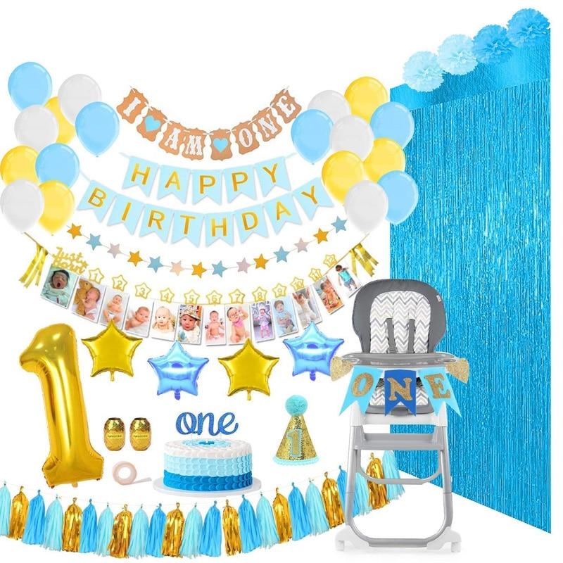 1st Birthday Party Decoration Balloons Girl Boy 1 Year Foil Latex Ball Set Birth Garland Children's Toy Baby Shower Supplies