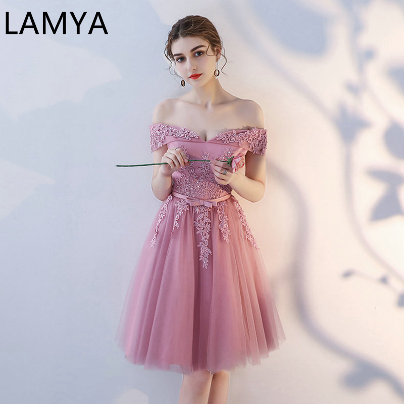 LAMYA Sexy Elegant Lace Prom Dresses 2021 New Arrived Women Beading A Line Evening Party Dress With Bow Vestido de Noite