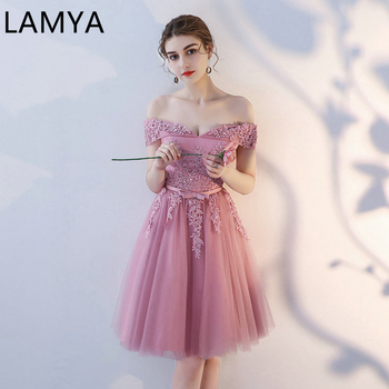 LAMYA Sexy Elegant Lace Prom Dresses 2021 New Arrived Women Beading A Line Evening Party Dress With Bow Vestido de Noite - discount item  30% OFF Special Occasion Dresses