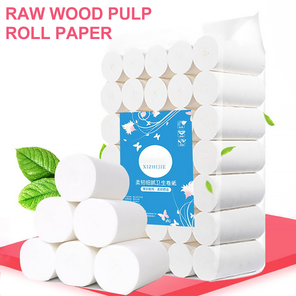 35 Rolls Toilet Roll Paper 4 Layers Home Bath Toilet Roll Paper Primary Wood Pulp Toilet Paper Tissue Roll