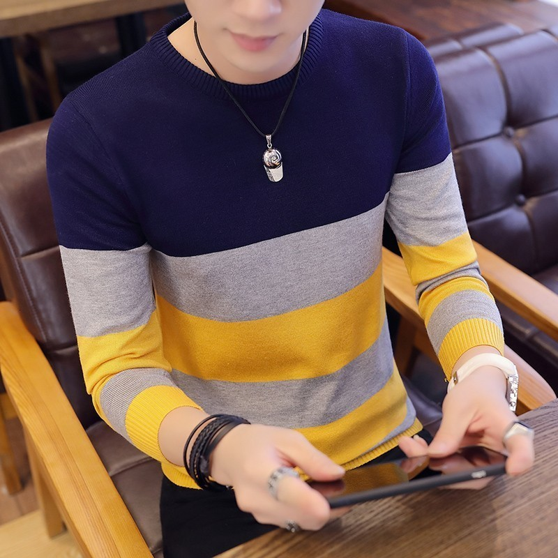 Striped Sweaters And Pullovers Men Long Sleeve Korea Style Knitted Sweater High Quality Pullover Homme Autumn Warm Navy Coat 3xl