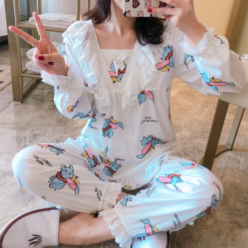 Spring 2019 Women Pajama Sets With Pants 2 Pcs Lace Pyjamas 100% Cotton Sleepwear Elegant Pijama Cartoon Print Cute Homewear