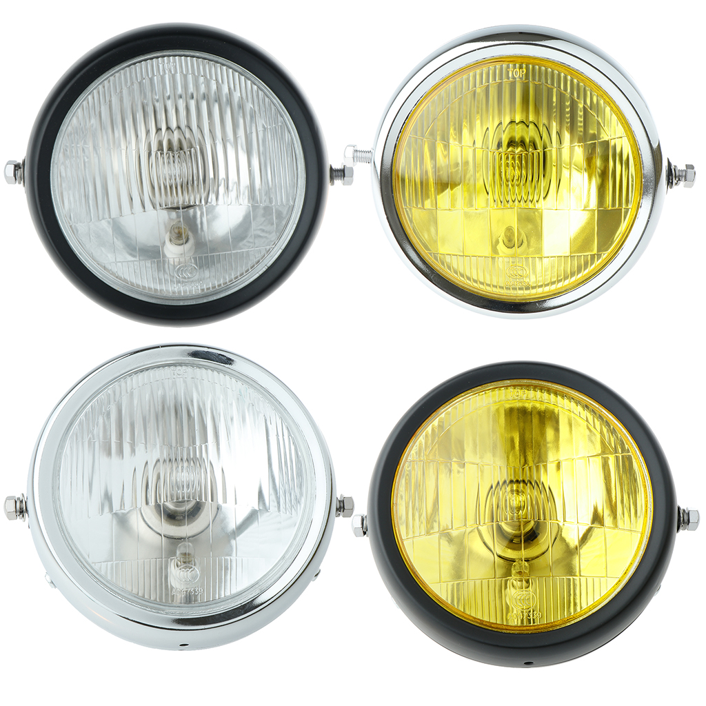 Metal Motorcycle Retro Clear Lens Side Mounted Single Headlight  for Lighting Parts|  - title=