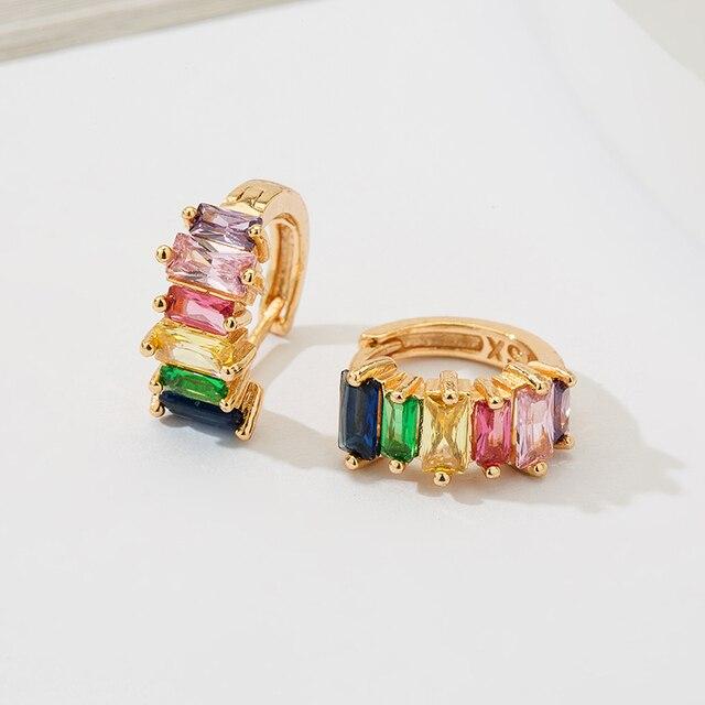 Fashion Colorful Crystal Small Hoop Earrings Clear CZ Geometric Circle Huggie Earrings For Women Jewelry 4