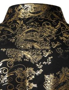 Image 4 - Chemises à fleurs pour hommes en or brillant coupe ajustée Chemise bronzante hommes mariage Club scène Chemise de bal Homme Chemise Homme Camisas Masculina XXL