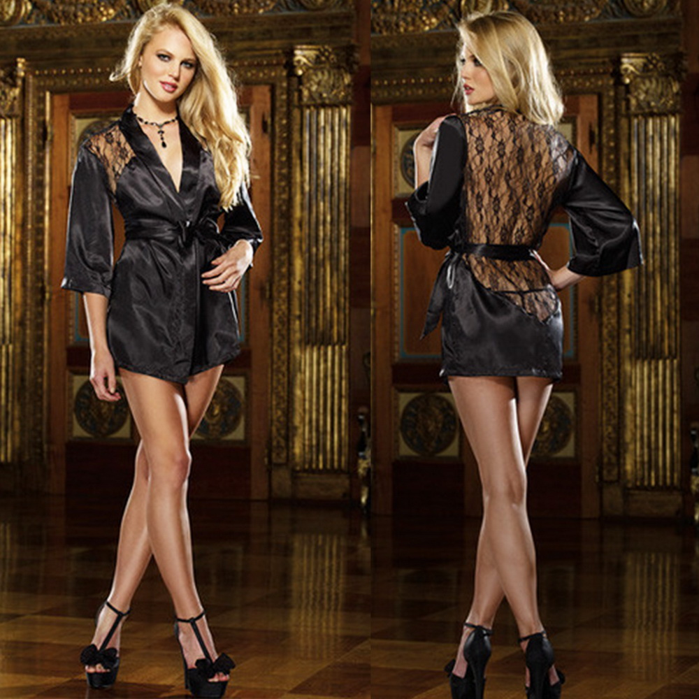 Intimate Sleepwear Sexy Night Gown Sexy Lingerie Erotic Underwear Chemises Black Lace Robe Babydolls Exotic Apparel