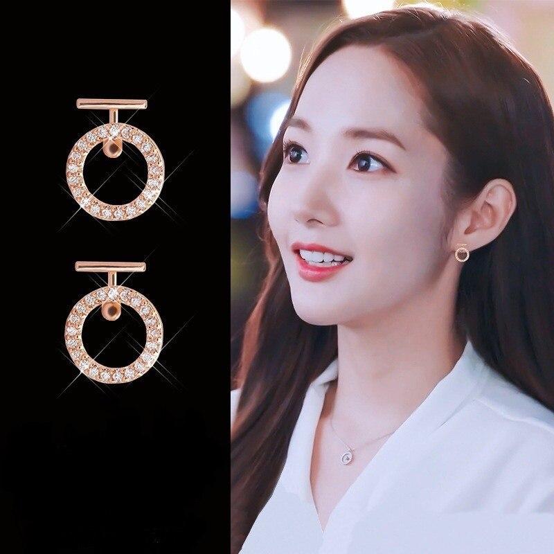 2020 Новый kpop Полный Стразы в дырочку круглые серьги для Для