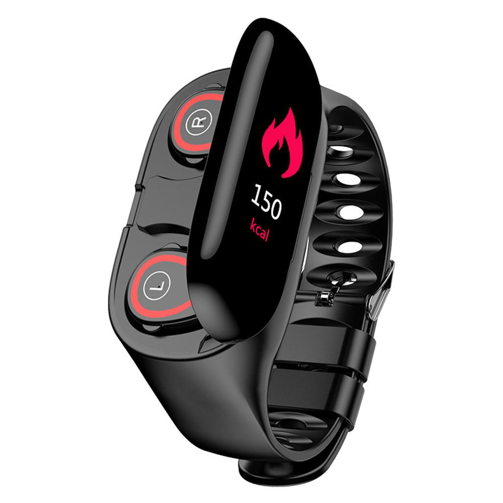 <font><b>M1</b></font> Smart <font><b>Watch</b></font> Dual Bluetooth Earphone Heart Rate Monitor Sports Color Screen Smart Bracelet for IOS Android image