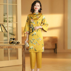 2019 Cheongsam suit retro printing Jacquard upper outer garment+seven cropped trousers 2019 suit  for style chinese
