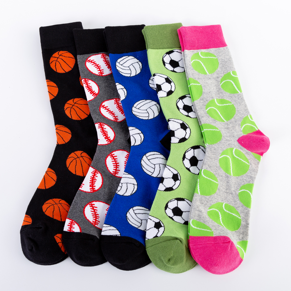 Colorful Men's Basketball Soccer Tennis Sports Ball Pattern Happy Wedding Socks Funny Causal Cotton Crew Chaussettes Homme