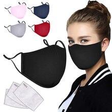 Adulto lavável algodão máscara protetora preta com 3 pces filtro de carvão ativado protetor facial dustproof ajustável mascarillas