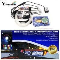 Yituancar 4/5/6Pcs In 1 LED RGB Dashboard Atmosphere Strip Car Light Mobile Bluetooth APP Sound Music Control DIY Interior Lamp