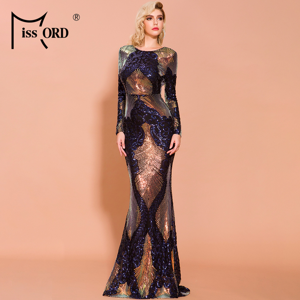 Missord 2020 Women Sexy O Neck Long Sleeve Backless Sequin Dresses Female Maxi Elegant Multi Dress  FT19747