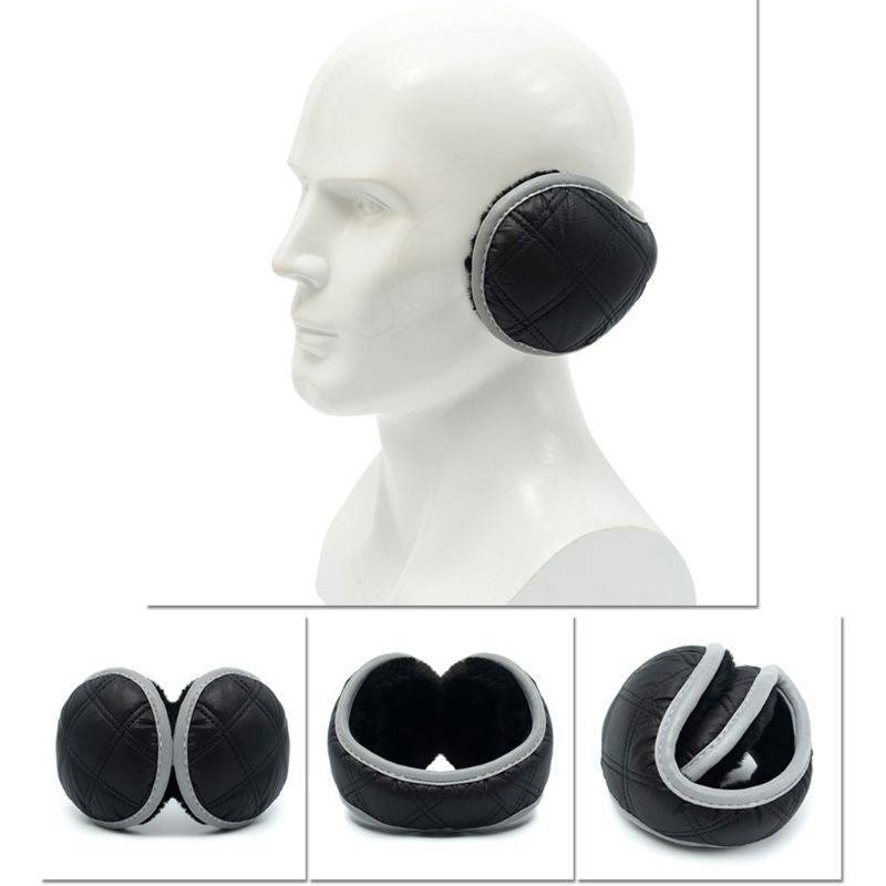 Unisex Waterproof Earmuffs With Reflective Strip Plush Lining Foldable Ear Cover