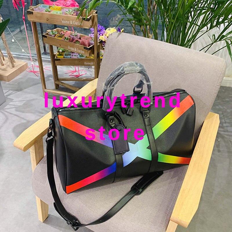 50cm 2019 Brand Mens Luxury Designer Travel Luggage Bag Men Totes KEePall Leather Handbag Duffle Bag Fashion Luxury Duffel Bags