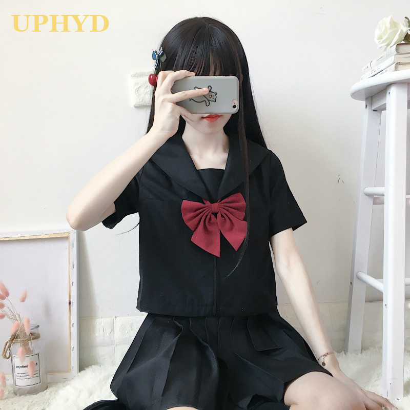 UPHYD Japanese School Girl Uniform Black Short Long Sleeve Shirt Optional Pleated Skirt Sets Anime Cosplay Sailor Uniforms