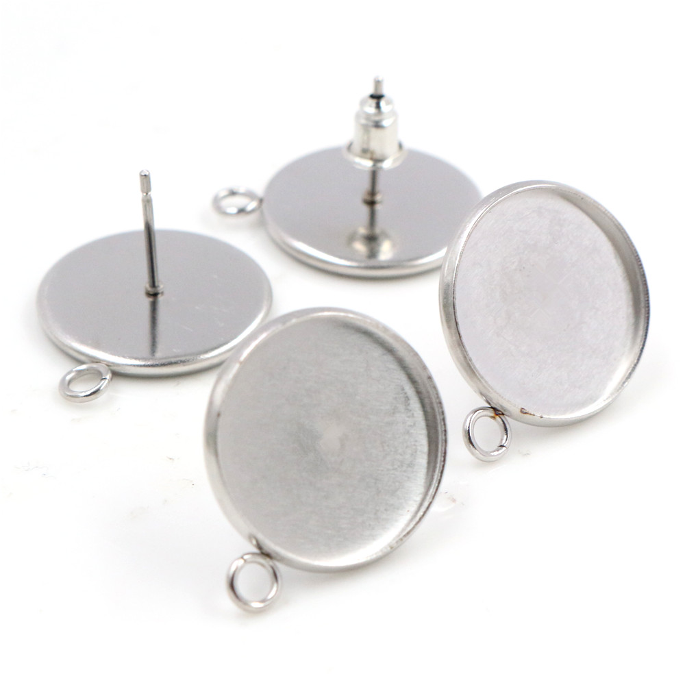 ( No Fade ) 16mm 10pcs/lots Stainless Steel Earring Studs,Earrings Blank/Base,Fit 16mm Glass Cabochons,Buttons-T7-33
