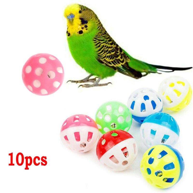 10 pçs brinquedo do papagaio do animal de estimação colorido oco rolando sino bola pássaro brinquedo periquito cockatiel papagaio mastigar gaiola brinquedos do divertimento brinquedo do papagaio do animal de estimação
