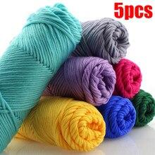 5 pçs super grosso fio de algodão skincare mão tricô cachecol casaco fio macio para a mão tricô 500g